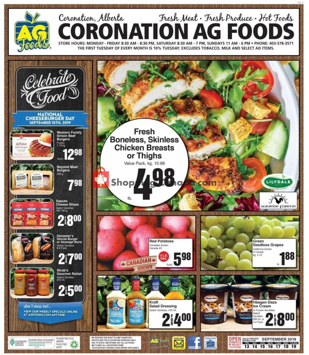 Flyer AG Foods Canada - from Friday September 13, 2019 to Thursday September 19, 2019