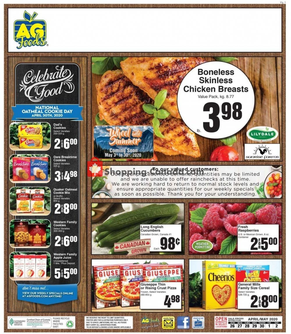 Flyer AG Foods Canada - from Sunday April 26, 2020 to Saturday May 2, 2020