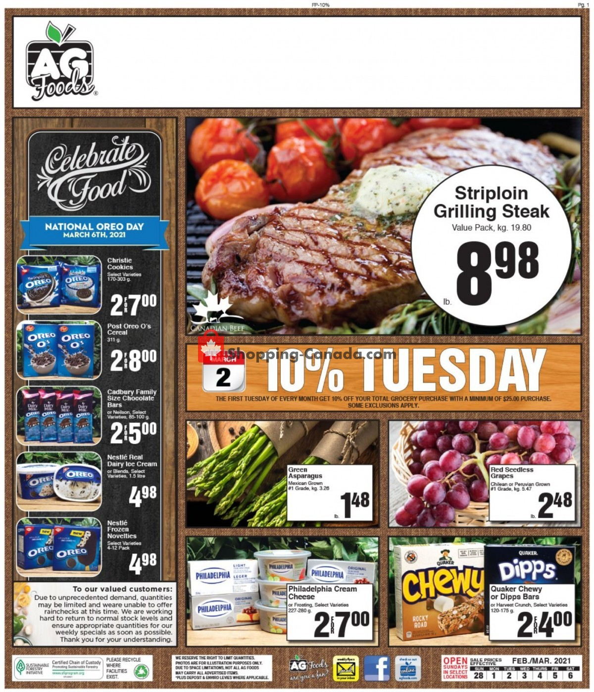 Flyer AG Foods Canada - from Sunday February 28, 2021 to Saturday March 6, 2021