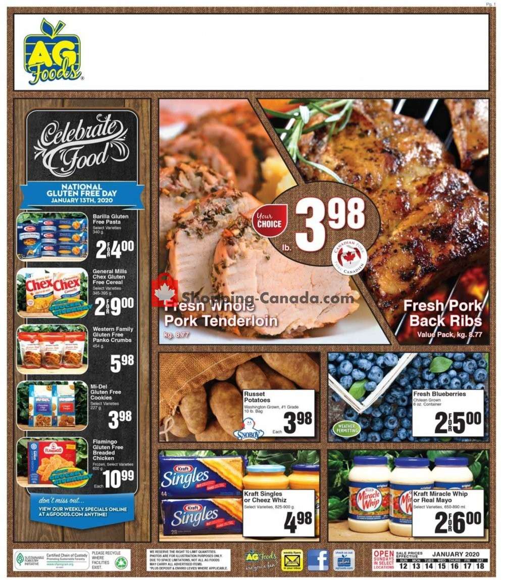 Flyer AG Foods Canada - from Sunday January 12, 2020 to Saturday January 18, 2020