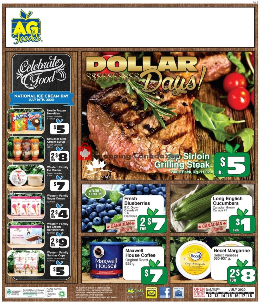 Flyer AG Foods Canada - from Sunday July 12, 2020 to Saturday July 18, 2020