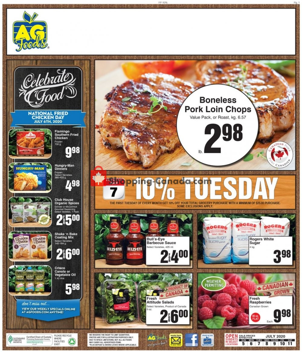 Flyer AG Foods Canada - from Sunday July 5, 2020 to Saturday July 11, 2020