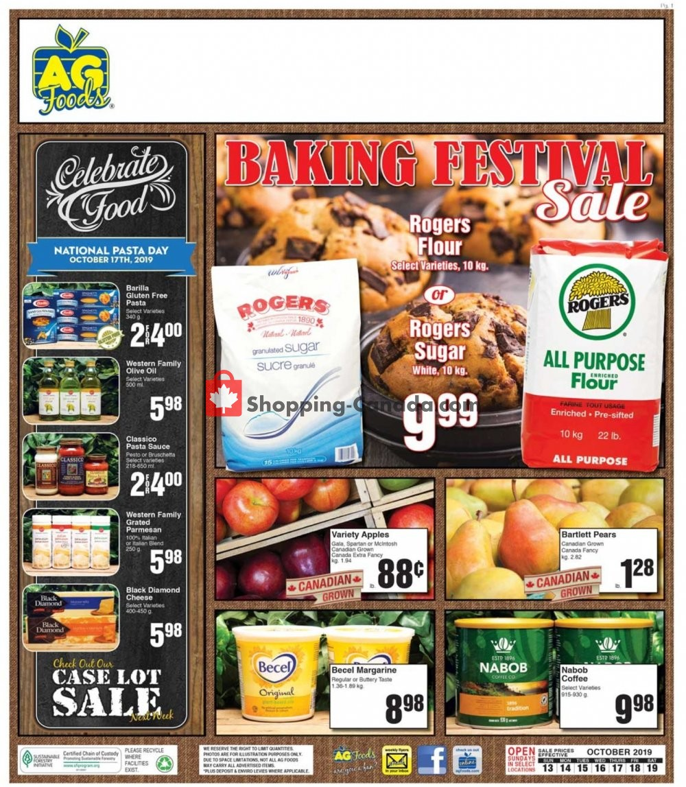 Flyer AG Foods Canada - from Sunday October 13, 2019 to Saturday October 19, 2019