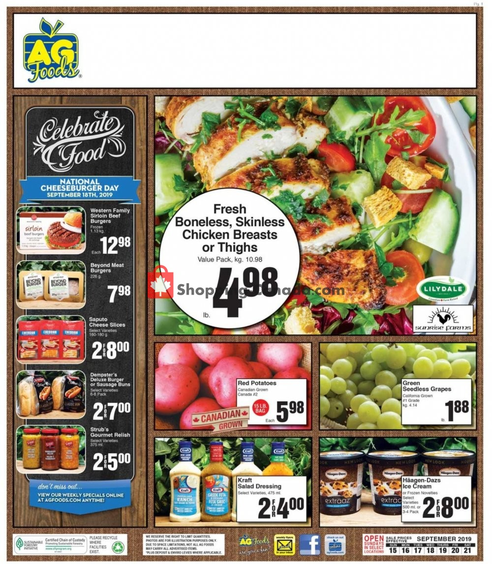 Flyer AG Foods Canada - from Sunday September 15, 2019 to Saturday September 21, 2019