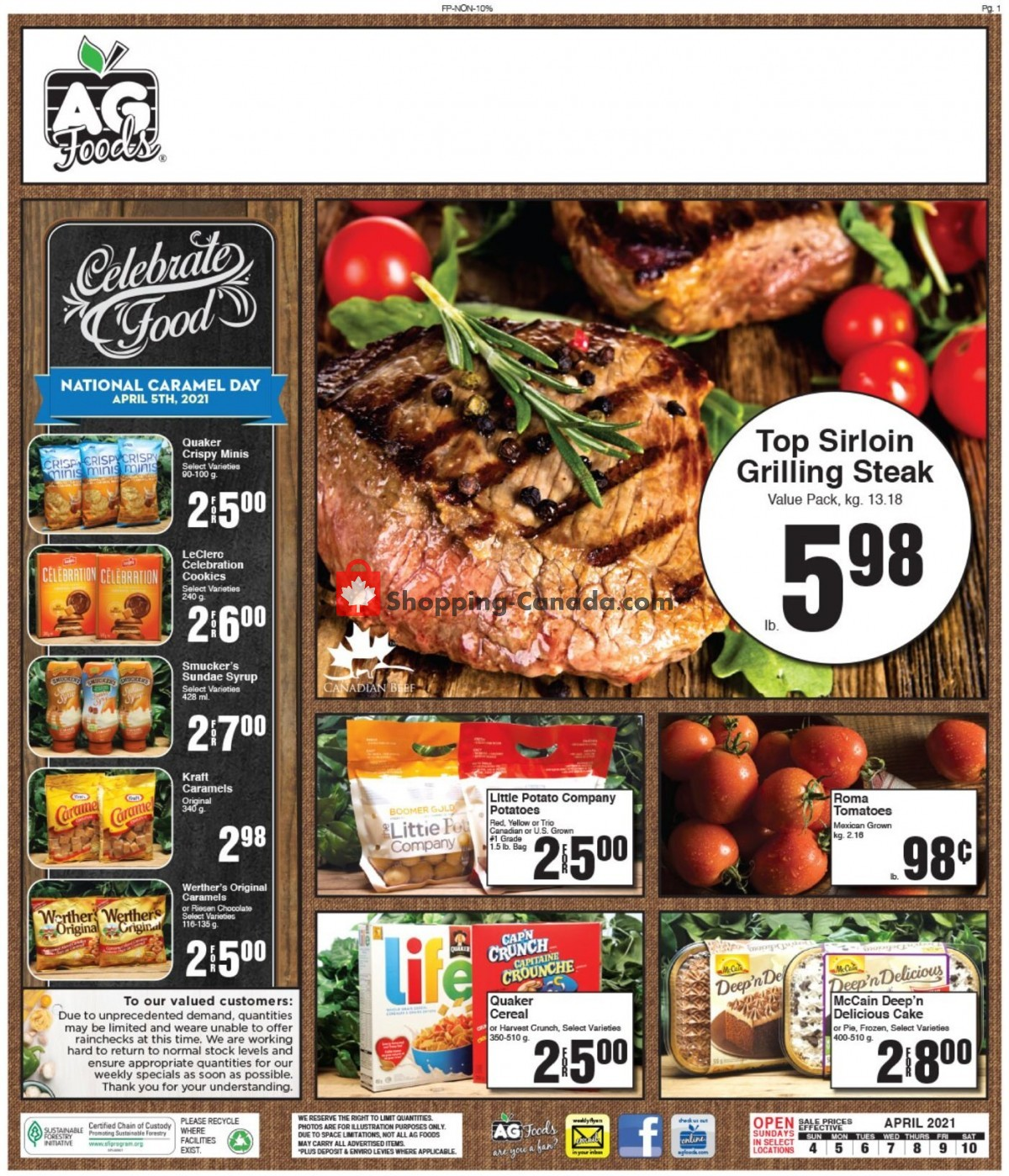 Flyer AG Foods Canada - from Sunday April 4, 2021 to Saturday April 10, 2021