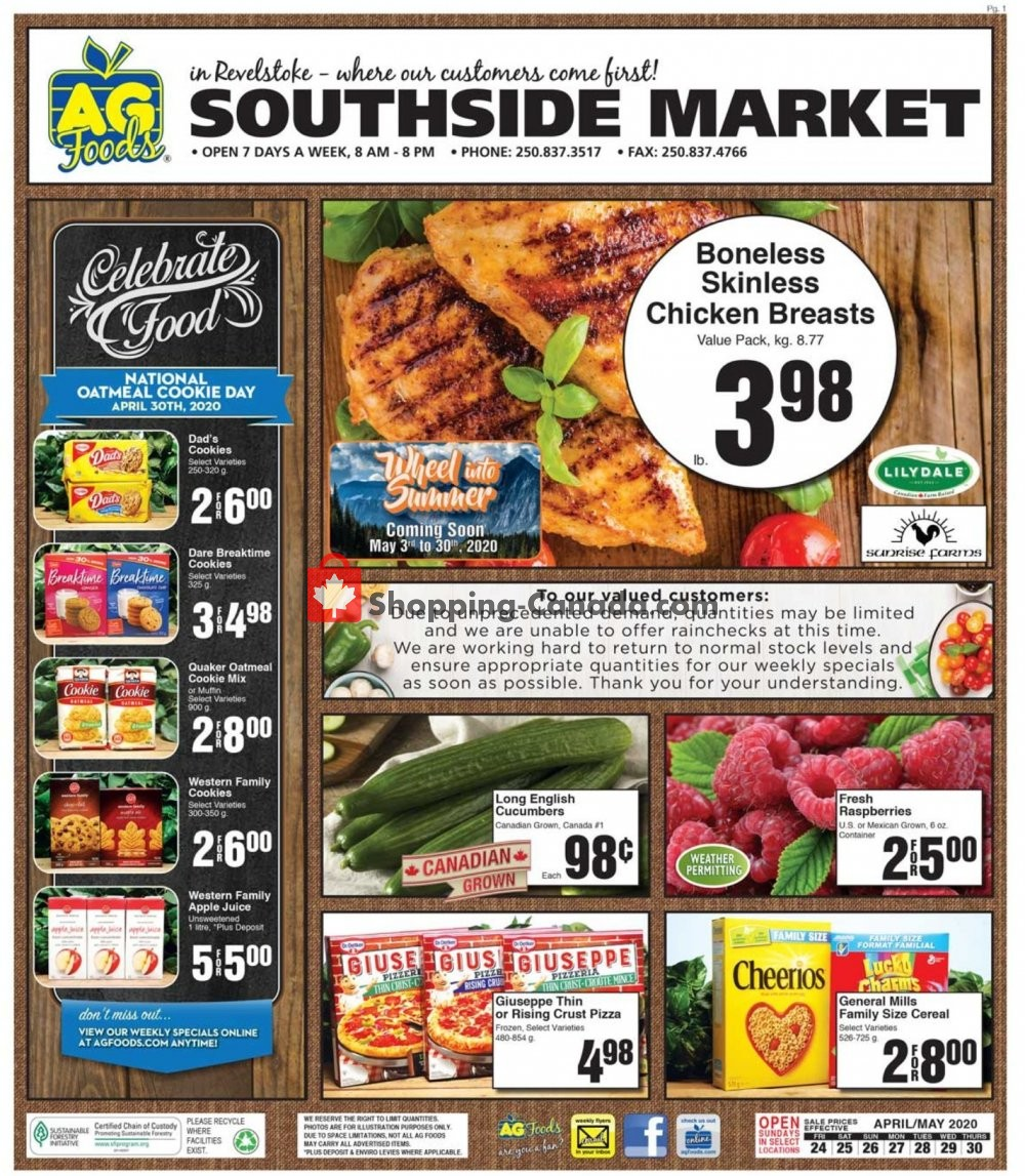 Flyer AG Foods Canada - from Friday April 24, 2020 to Thursday April 30, 2020