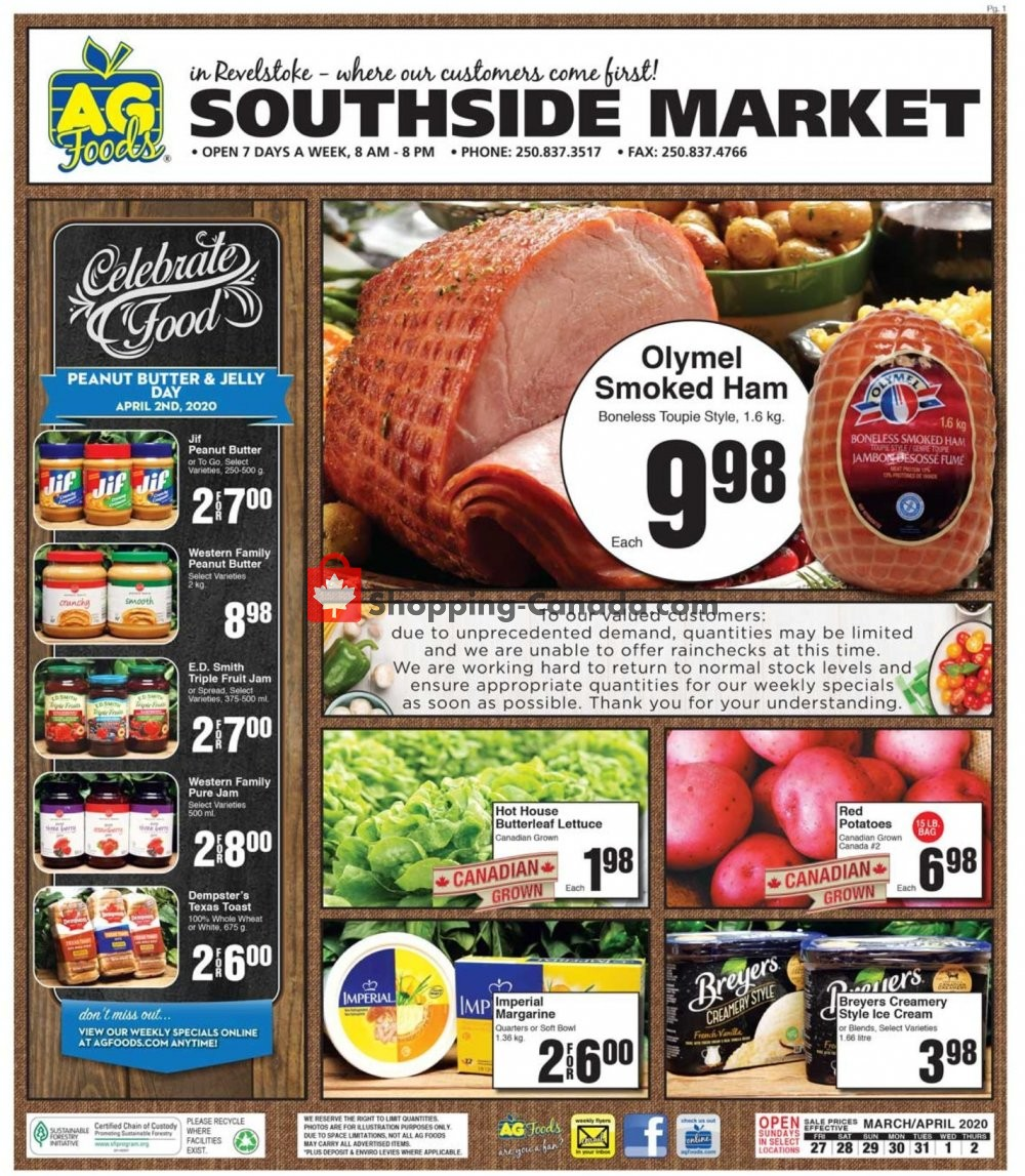 Flyer AG Foods Canada - from Friday March 27, 2020 to Thursday April 2, 2020