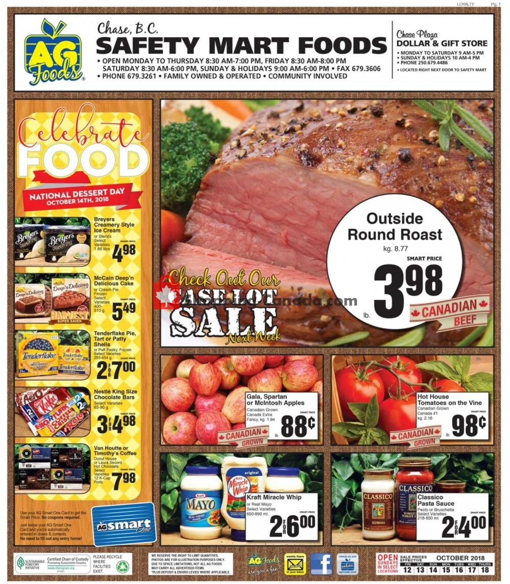 Flyer AG Foods Canada - from Friday October 12, 2018 to Thursday October 18, 2018