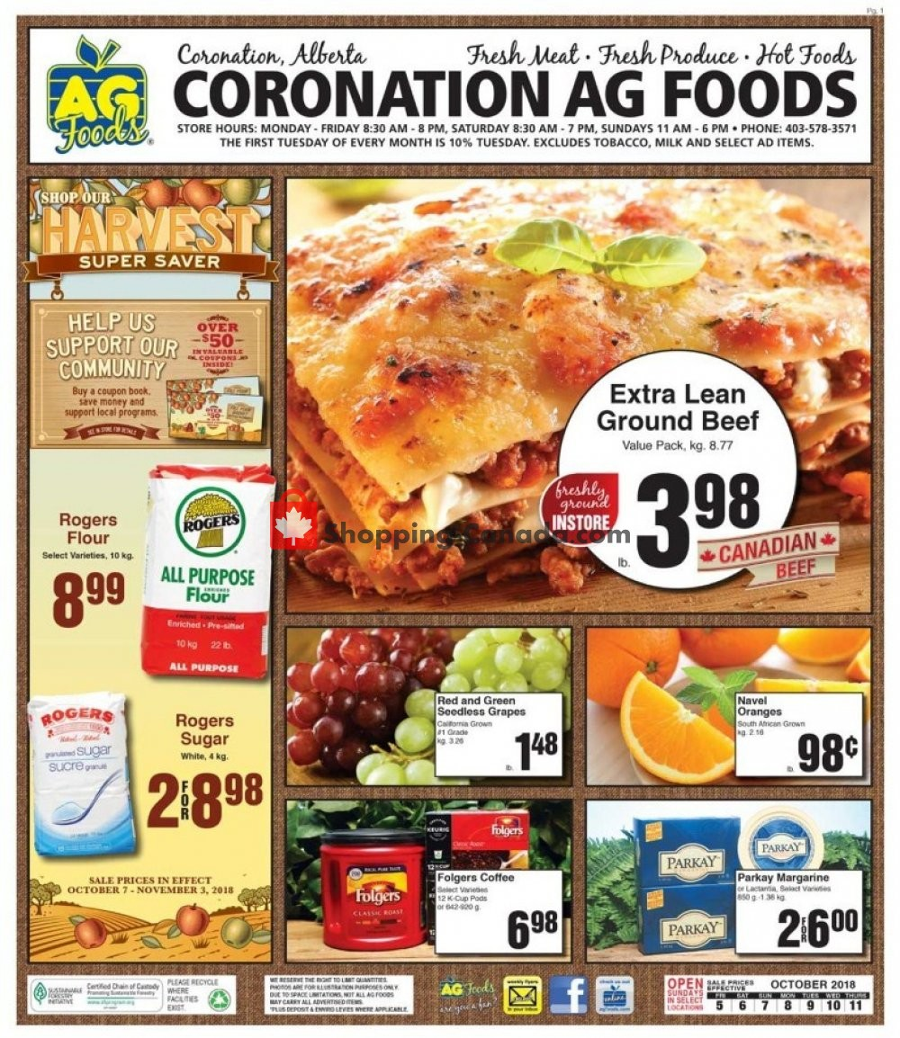 Flyer AG Foods Canada - from Friday October 5, 2018 to Thursday October 11, 2018