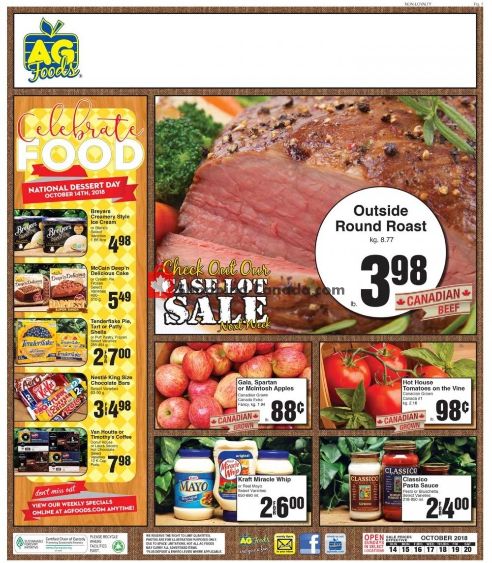 Flyer AG Foods Canada - from Sunday October 14, 2018 to Saturday October 20, 2018