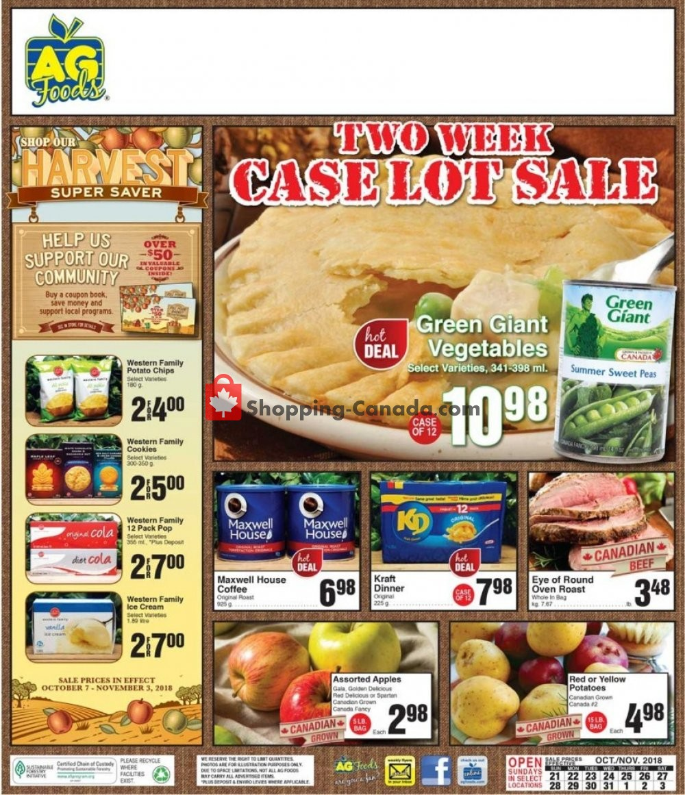 Flyer AG Foods Canada - from Sunday October 21, 2018 to Saturday November 3, 2018
