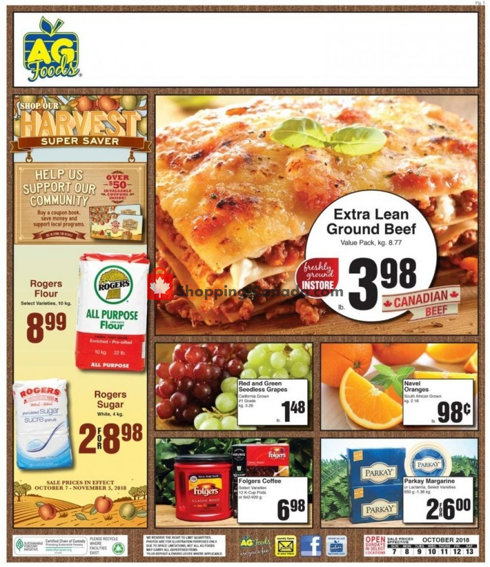 Flyer AG Foods Canada - from Sunday October 7, 2018 to Saturday October 13, 2018