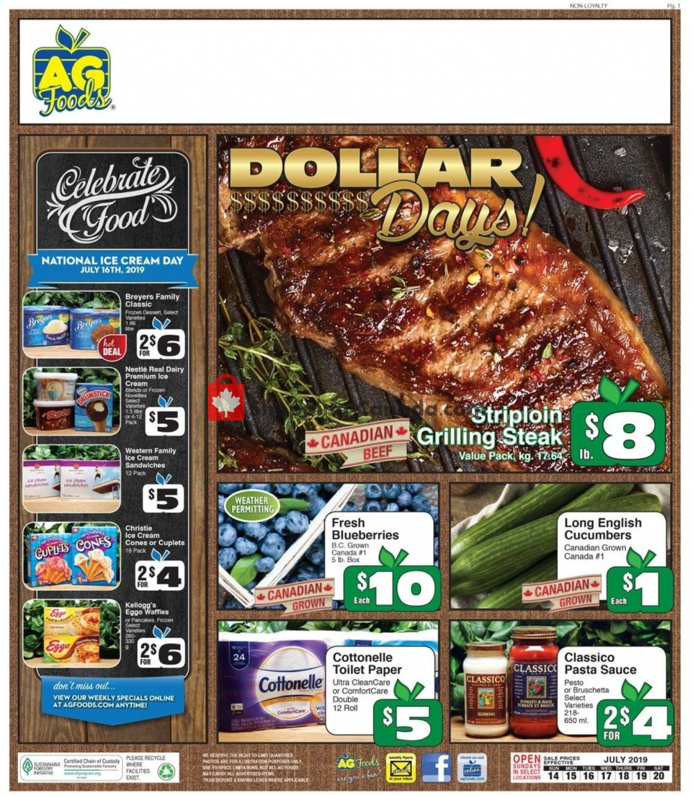 Flyer AG Foods Canada - from Sunday July 14, 2019 to Saturday July 20, 2019