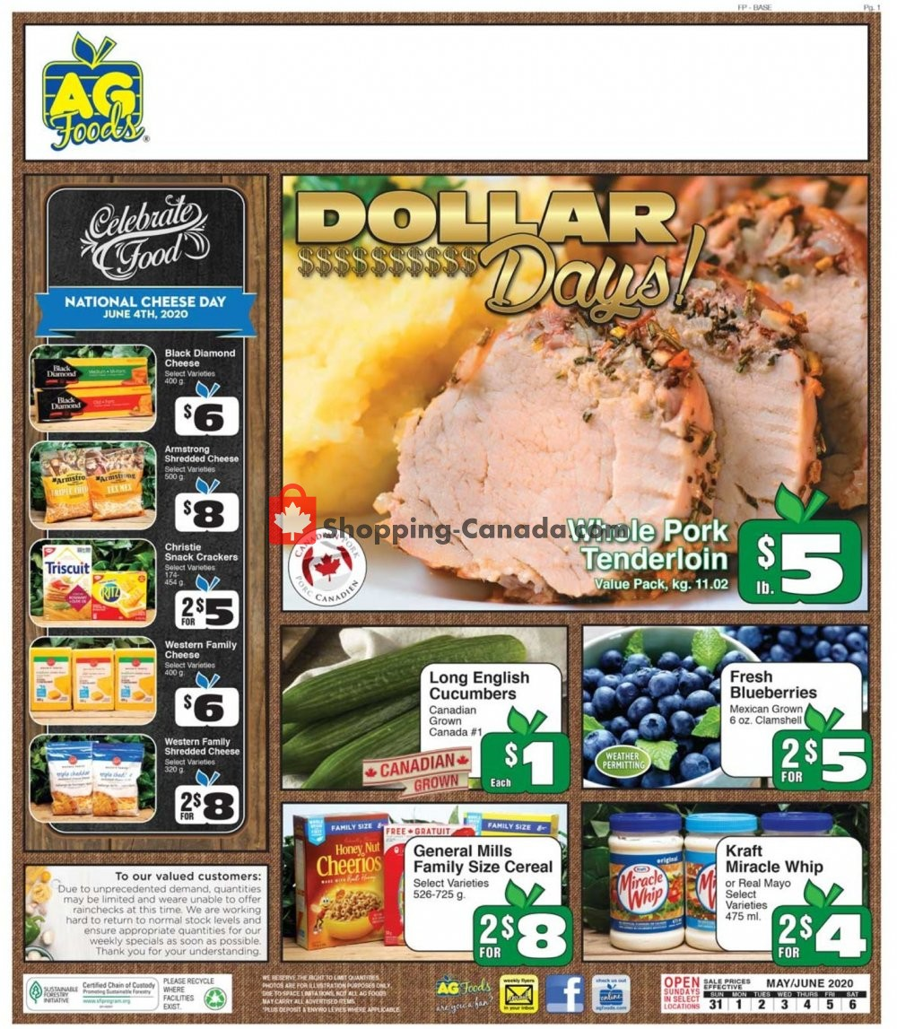 Flyer AG Foods Canada - from Sunday May 31, 2020 to Saturday June 6, 2020