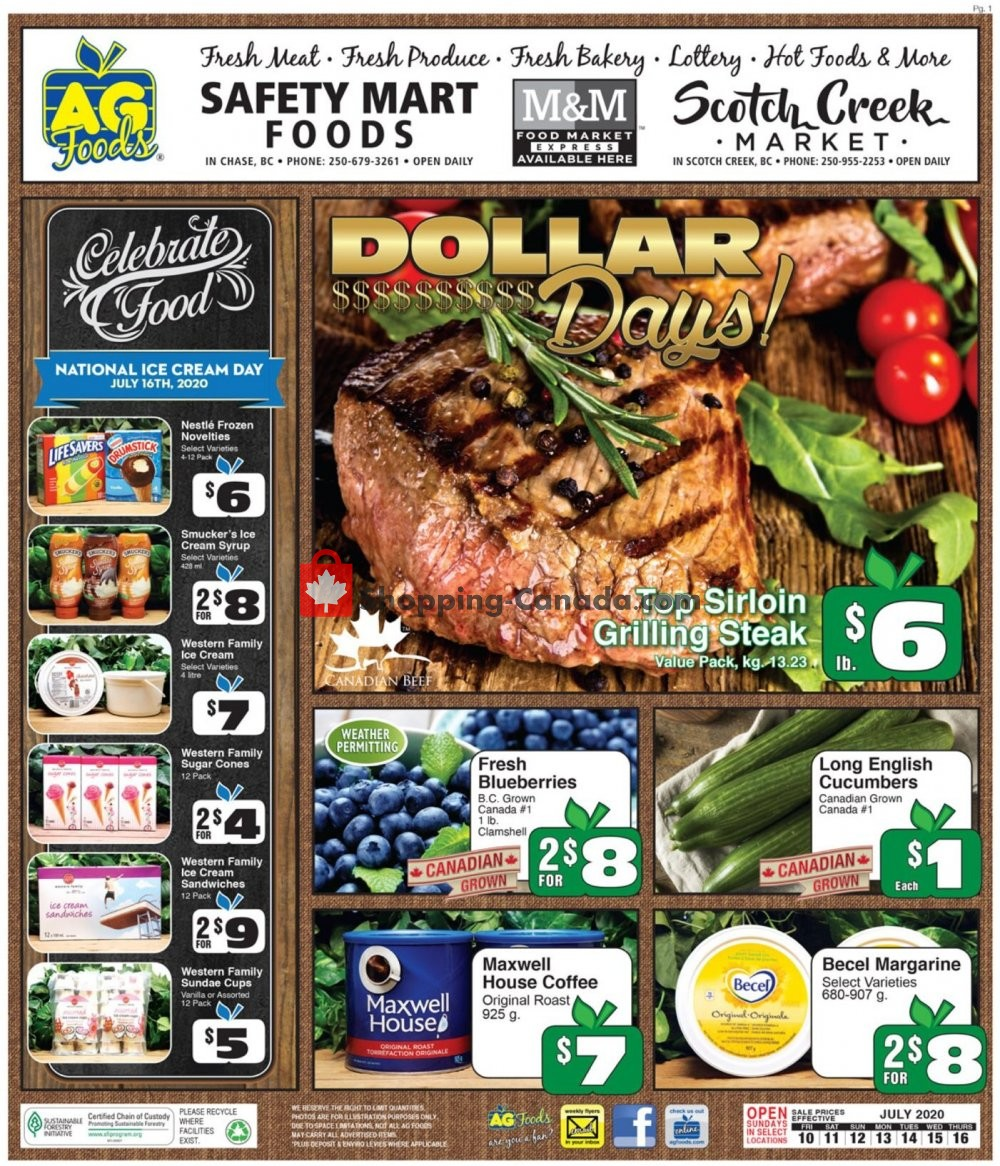 Flyer AG Foods Canada - from Friday July 10, 2020 to Thursday July 16, 2020