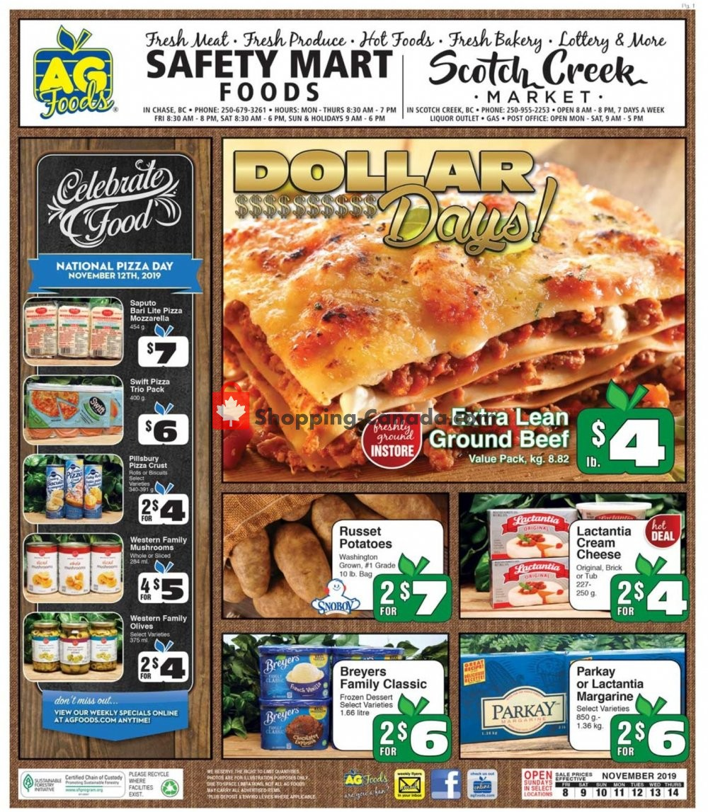 Flyer AG Foods Canada - from Friday November 8, 2019 to Thursday November 14, 2019