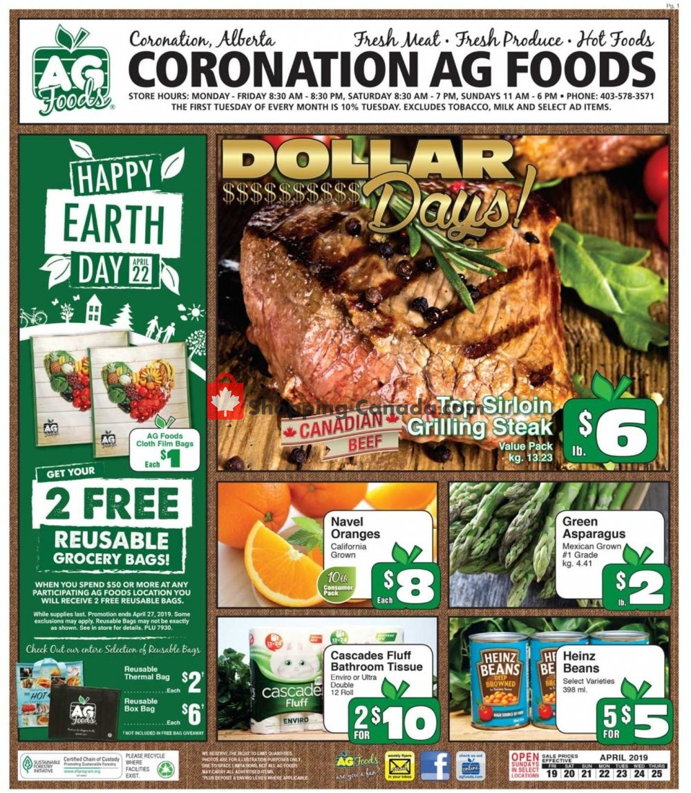 Flyer AG Foods Canada - from Friday April 19, 2019 to Thursday April 25, 2019