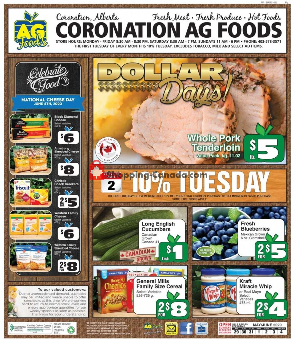 Flyer AG Foods Canada - from Friday May 29, 2020 to Thursday June 4, 2020