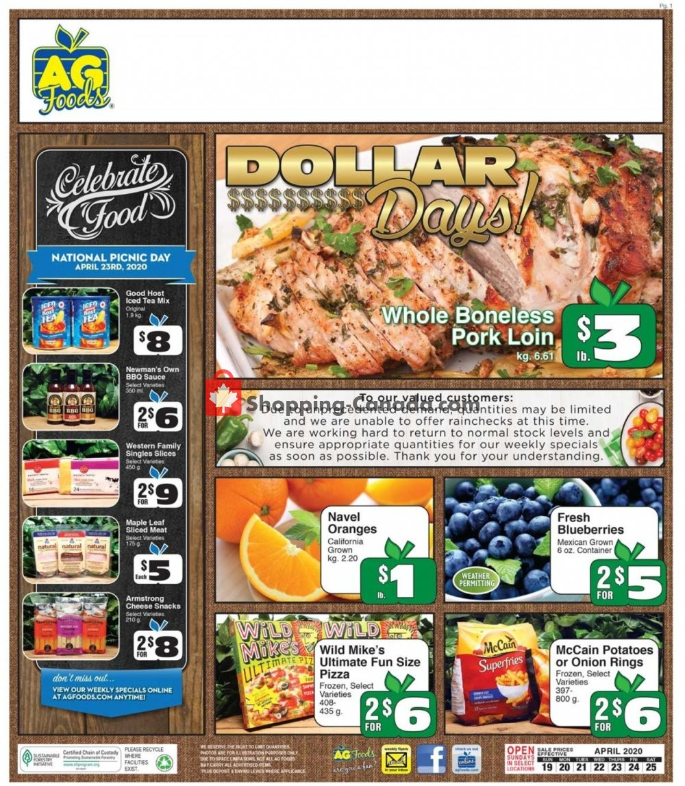 Flyer AG Foods Canada - from Sunday April 19, 2020 to Saturday April 25, 2020