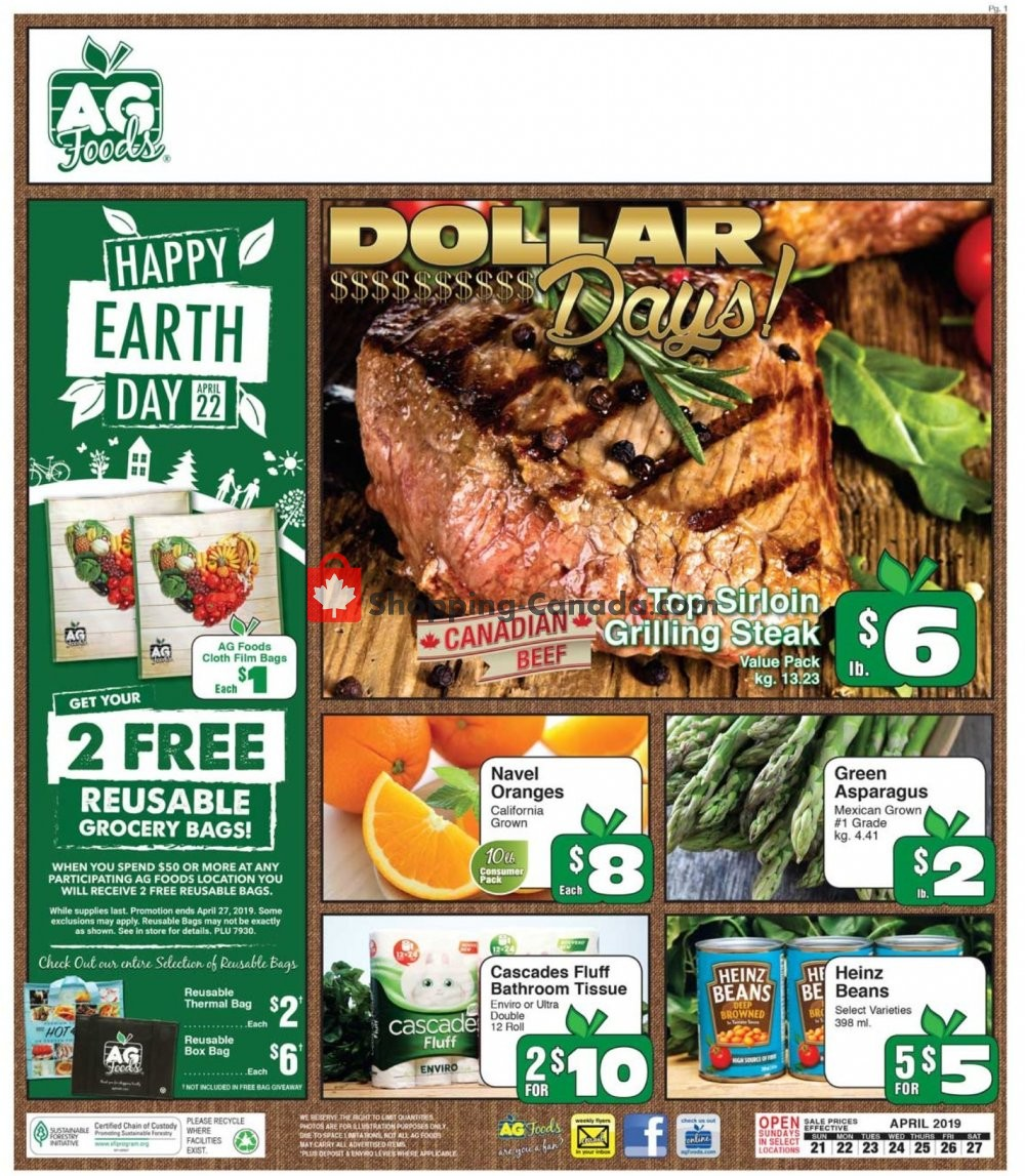 Flyer AG Foods Canada - from Sunday April 21, 2019 to Saturday April 27, 2019