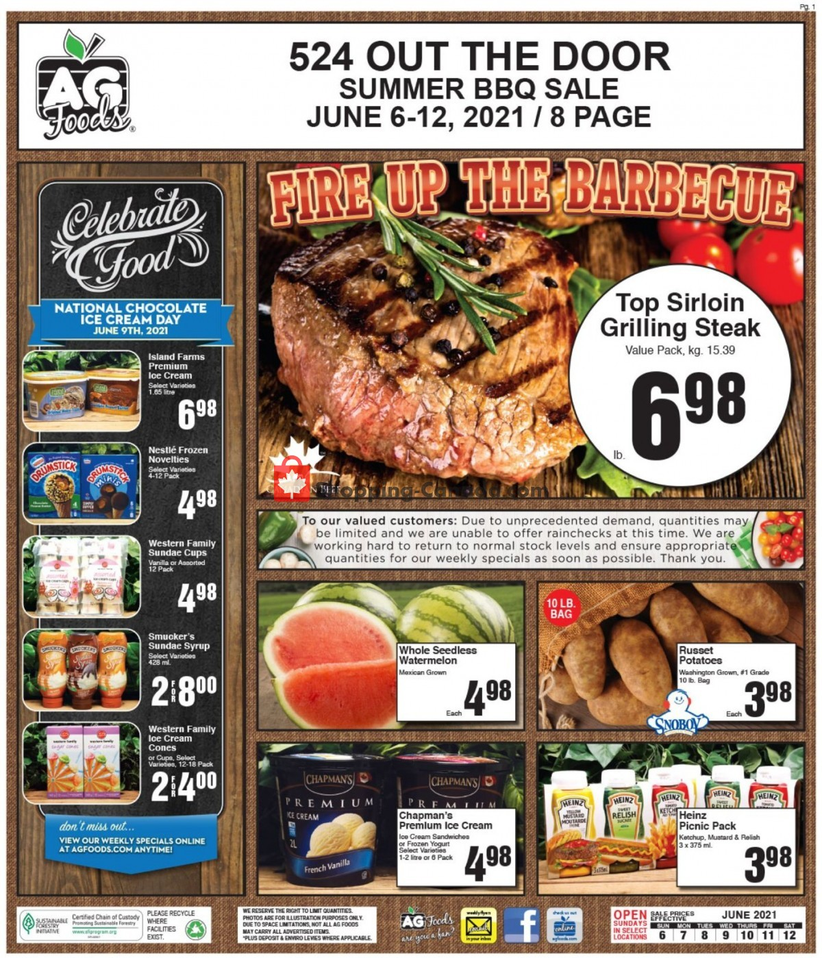 Flyer AG Foods Canada - from Sunday June 6, 2021 to Saturday June 12, 2021