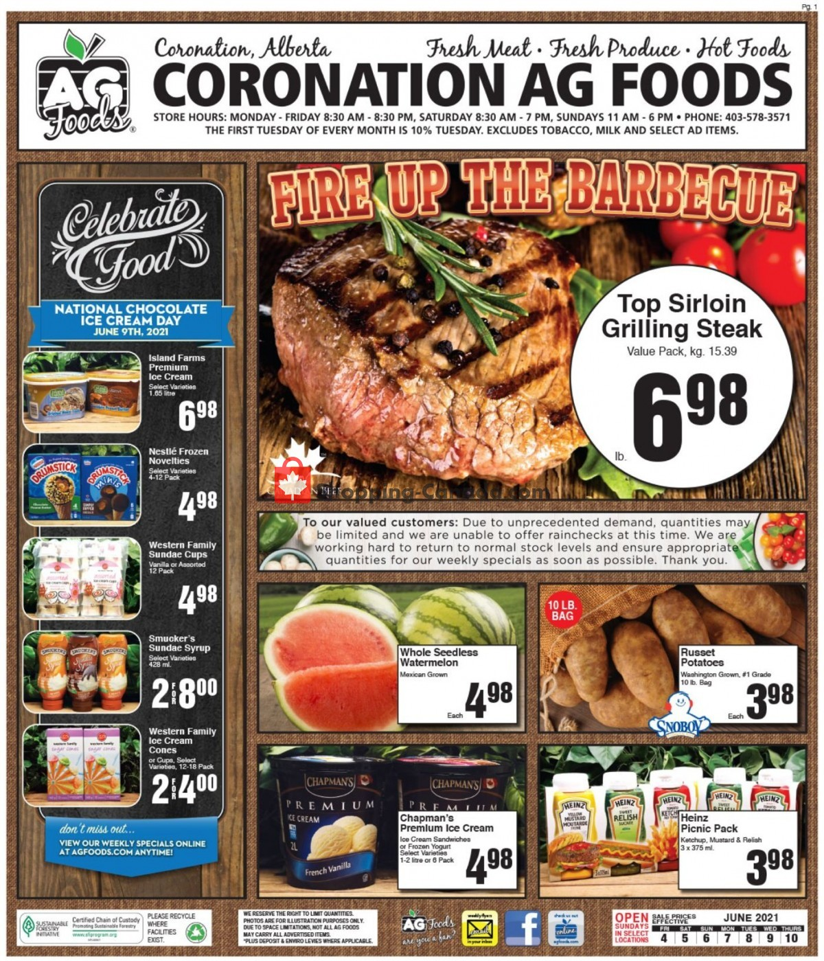 Flyer AG Foods Canada - from Friday June 4, 2021 to Thursday June 10, 2021
