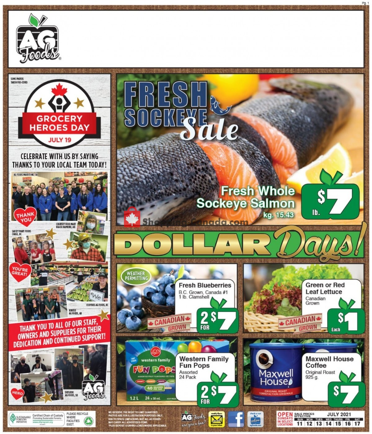 Flyer AG Foods Canada - from Sunday July 11, 2021 to Saturday July 17, 2021