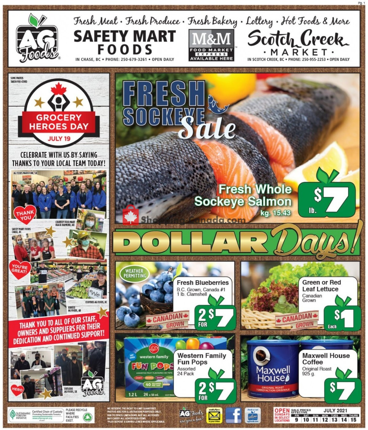 Flyer AG Foods Canada - from Friday July 9, 2021 to Thursday July 15, 2021