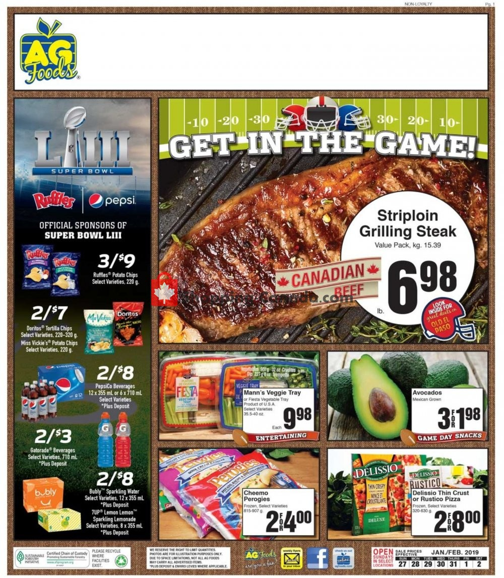 Flyer AG Foods Canada - from Sunday January 27, 2019 to Saturday February 2, 2019