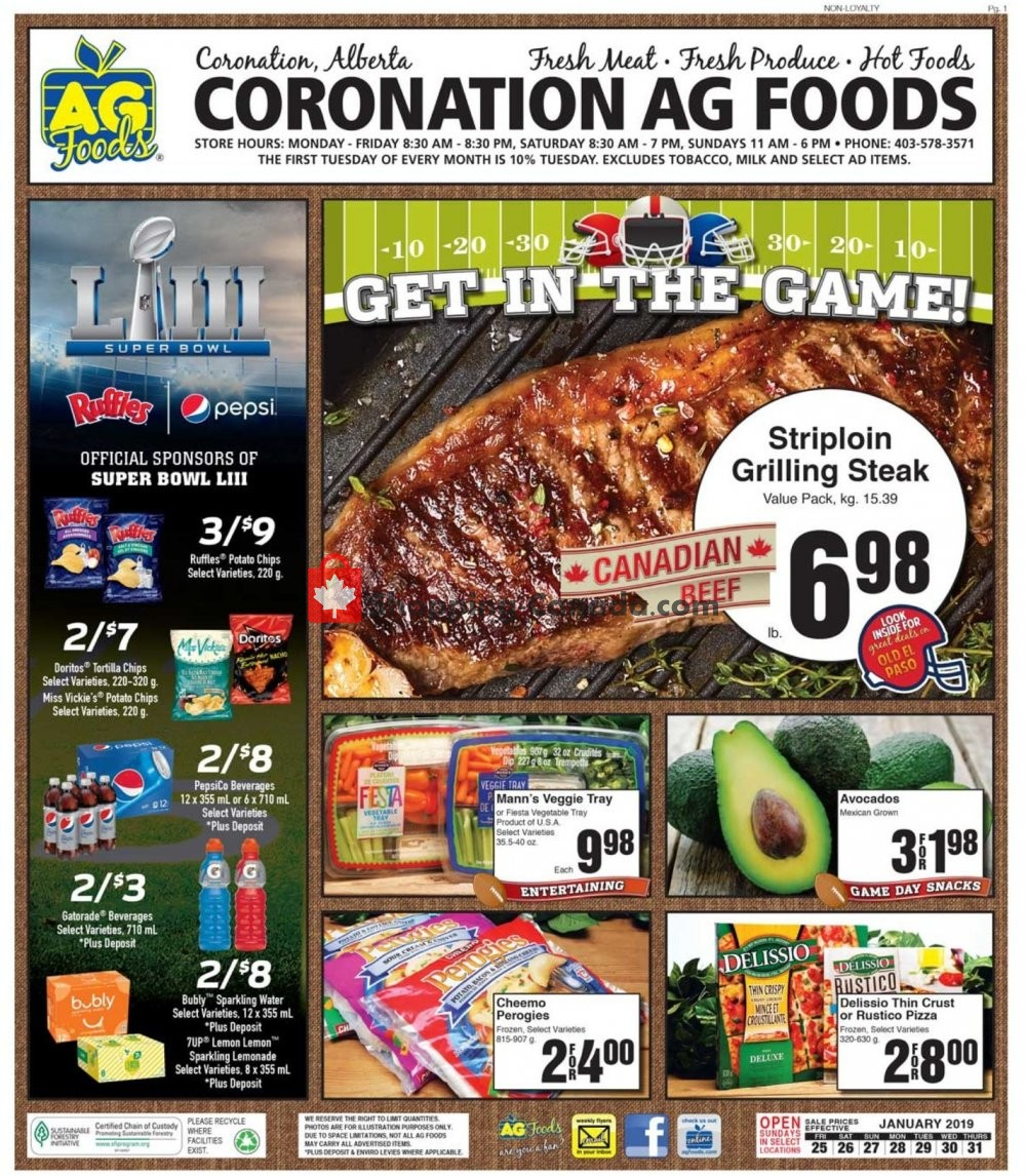 Flyer AG Foods Canada - from Friday January 25, 2019 to Thursday January 31, 2019