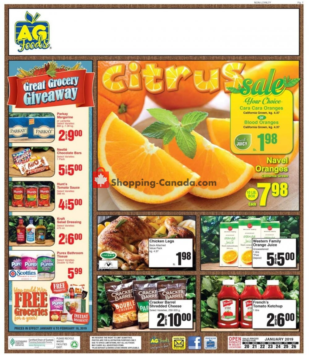 Flyer AG Foods Canada - from Sunday January 20, 2019 to Saturday January 26, 2019