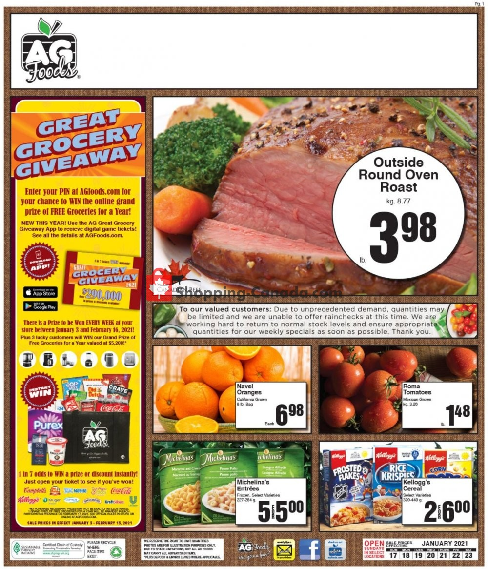Flyer AG Foods Canada - from Sunday January 17, 2021 to Saturday January 23, 2021