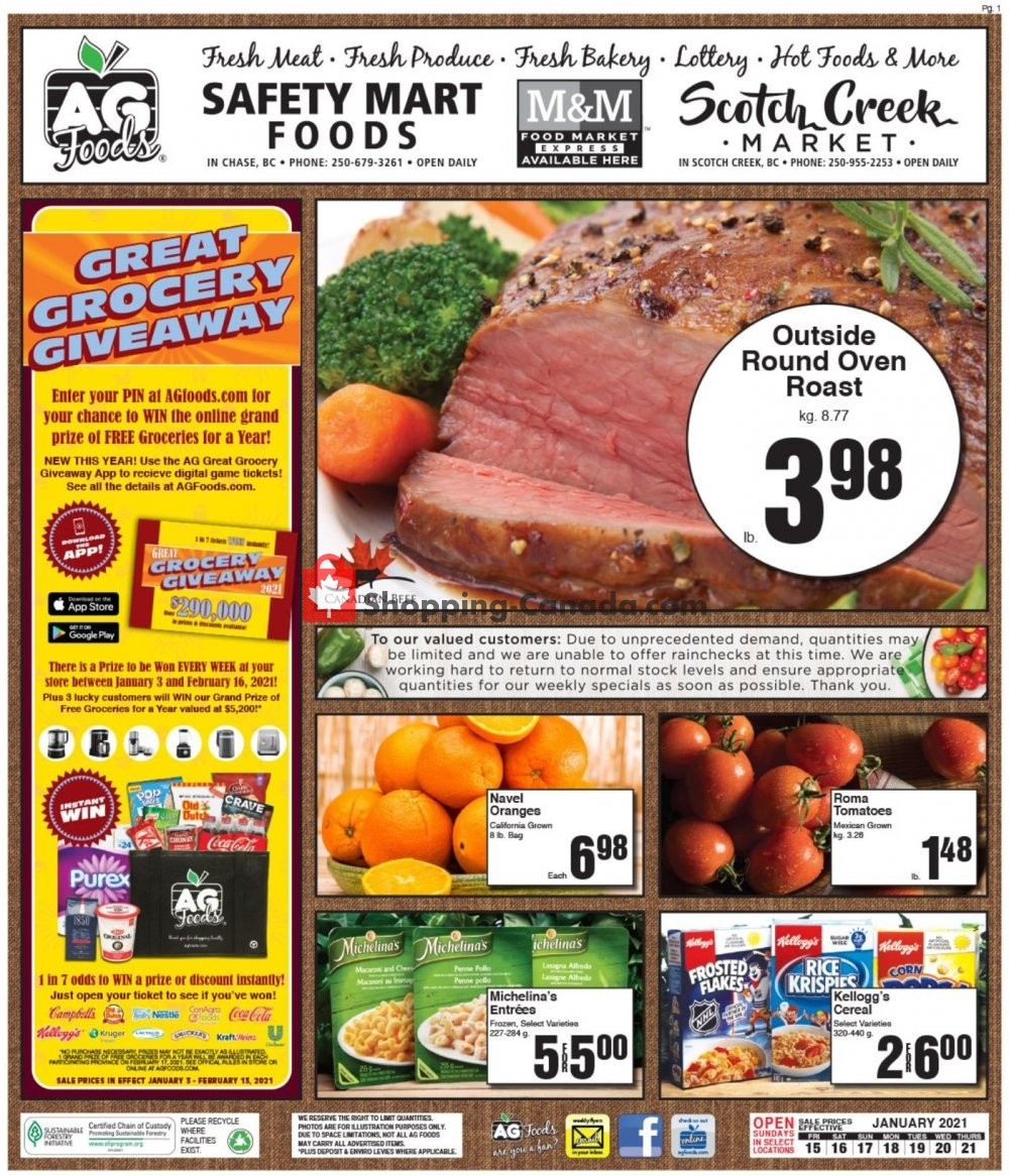 Flyer AG Foods Canada - from Friday January 15, 2021 to Thursday January 21, 2021
