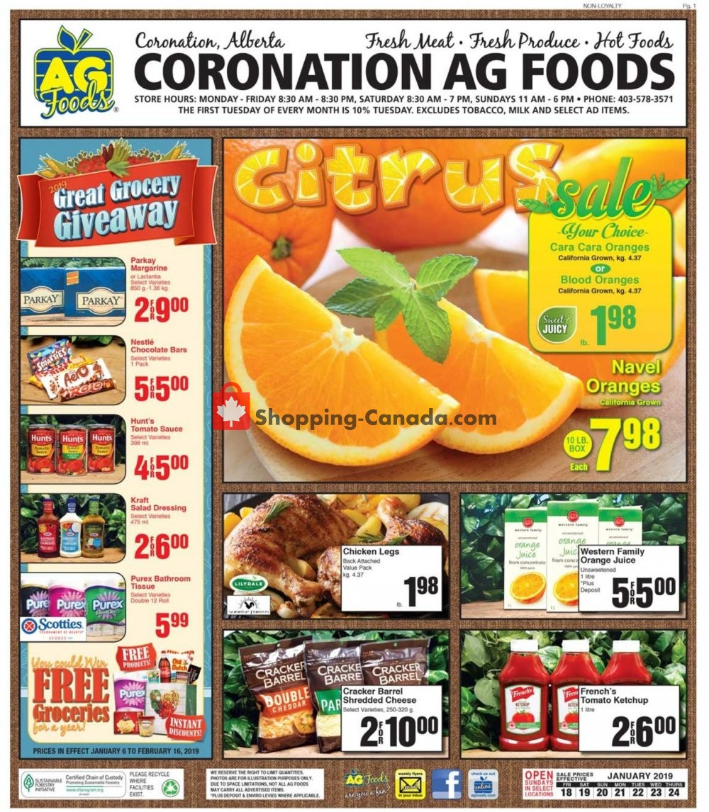 Flyer AG Foods Canada - from Friday January 18, 2019 to Thursday January 24, 2019