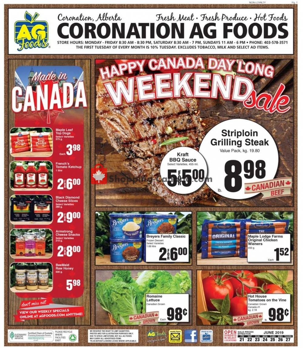 Flyer AG Foods Canada - from Friday June 21, 2019 to Thursday June 27, 2019