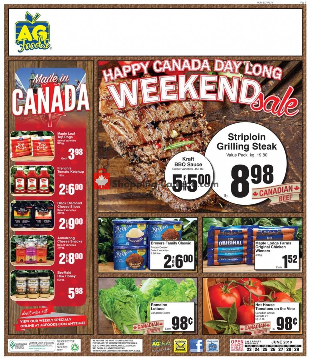 Flyer AG Foods Canada - from Sunday June 23, 2019 to Saturday June 29, 2019