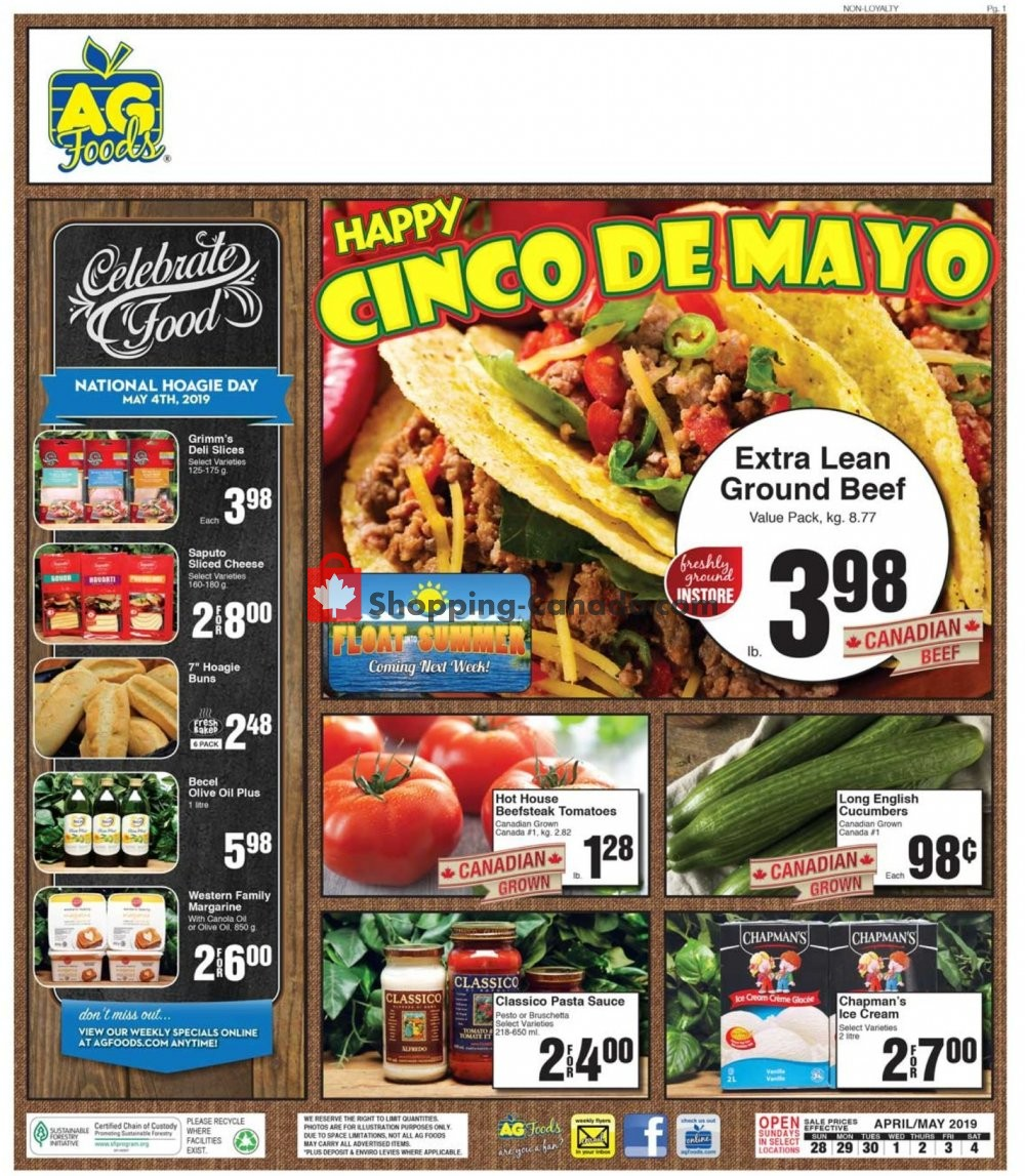 Flyer AG Foods Canada - from Sunday April 28, 2019 to Saturday May 4, 2019