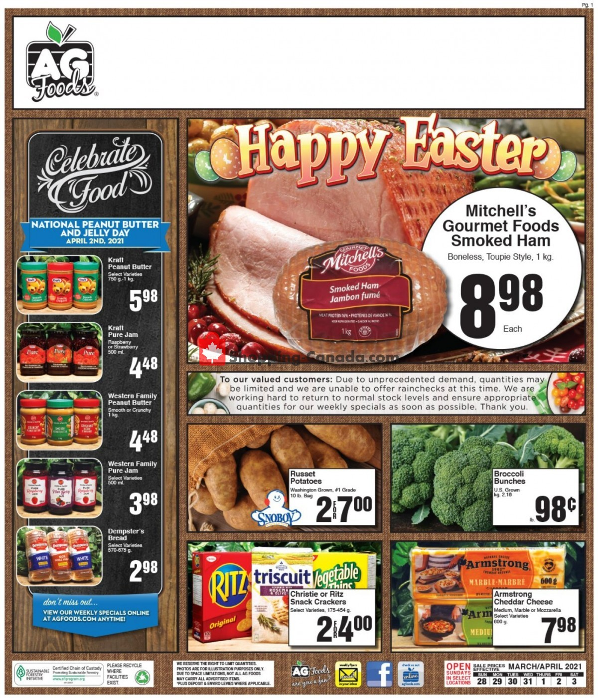 Flyer AG Foods Canada - from Sunday March 28, 2021 to Saturday April 3, 2021