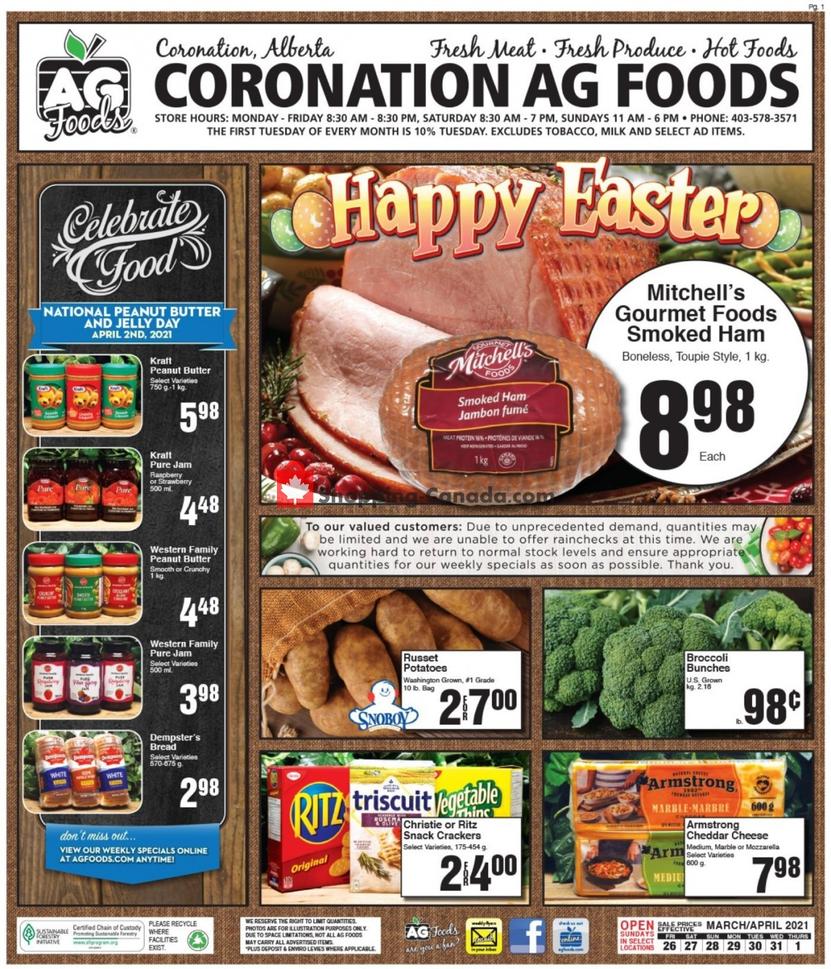 Flyer AG Foods Canada - from Friday March 26, 2021 to Thursday April 1, 2021