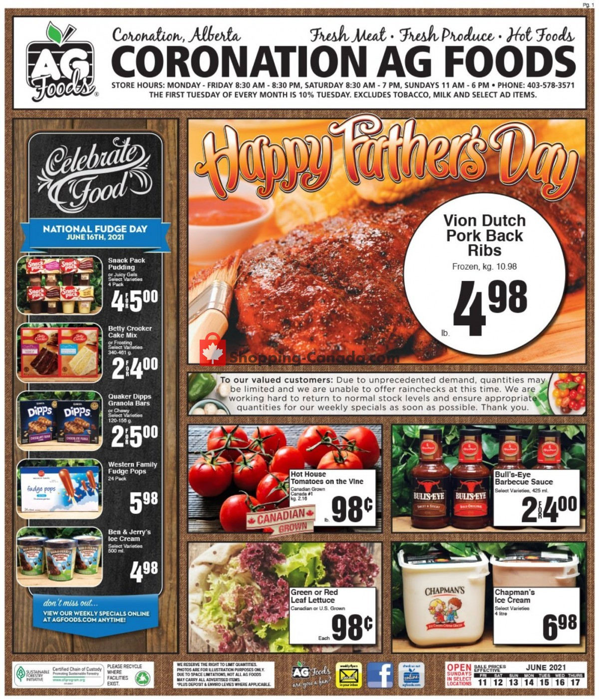 Flyer AG Foods Canada - from Friday June 11, 2021 to Thursday June 17, 2021