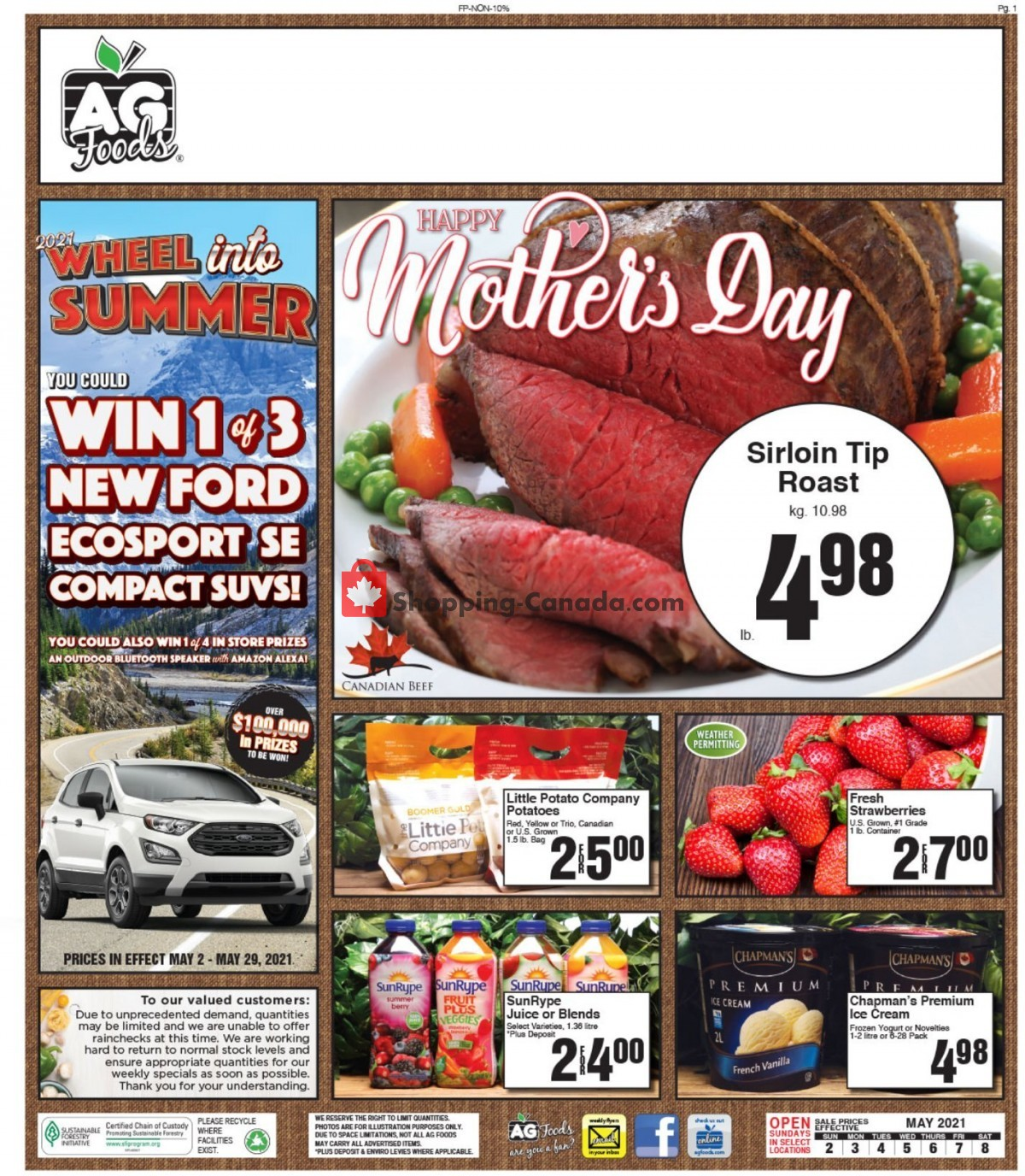 Flyer AG Foods Canada - from Sunday May 2, 2021 to Saturday May 8, 2021