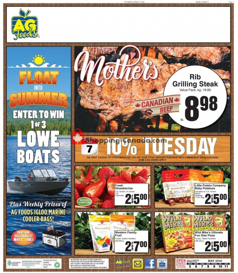 Flyer AG Foods Canada - from Sunday May 5, 2019 to Saturday May 11, 2019