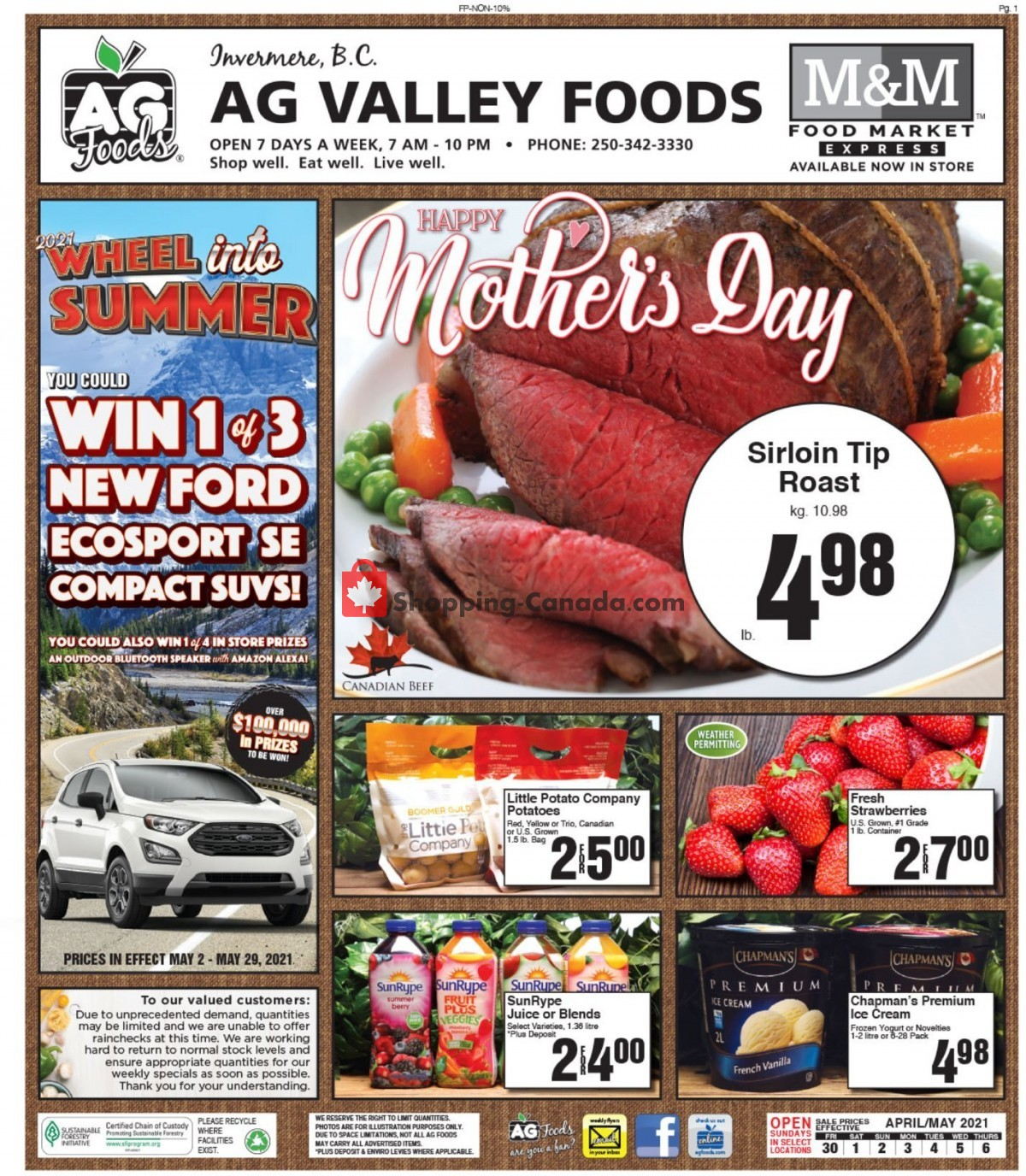 Flyer AG Foods Canada - from Friday April 30, 2021 to Thursday May 6, 2021