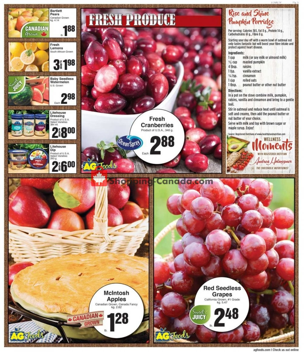 Flyer AG Foods Canada - from Friday October 4, 2019 to Thursday October 10, 2019