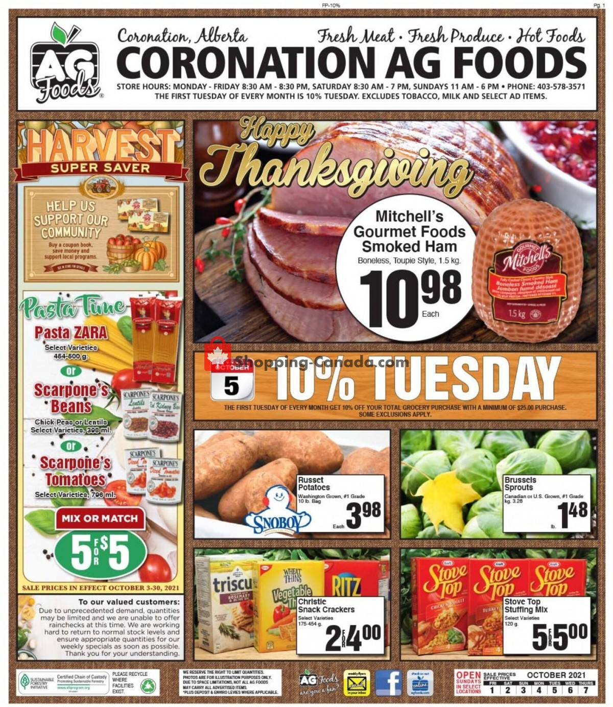 Flyer AG Foods Canada - from Friday October 1, 2021 to Thursday October 7, 2021