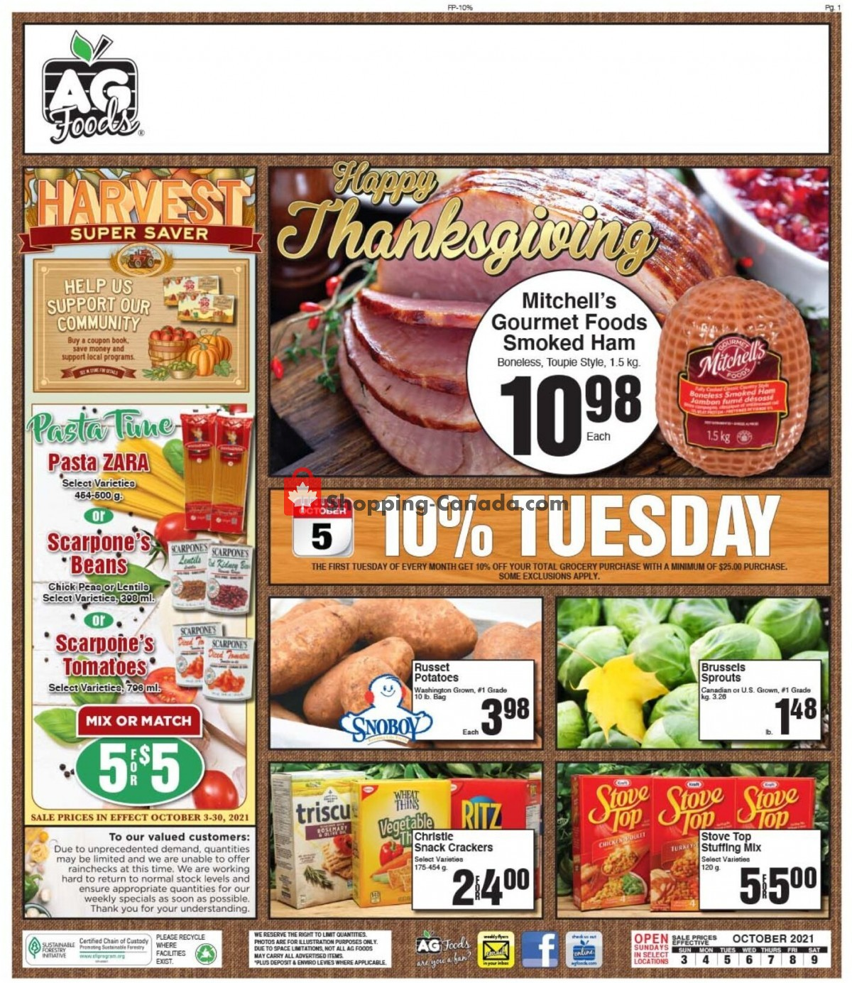 Flyer AG Foods Canada - from Sunday October 3, 2021 to Saturday October 9, 2021