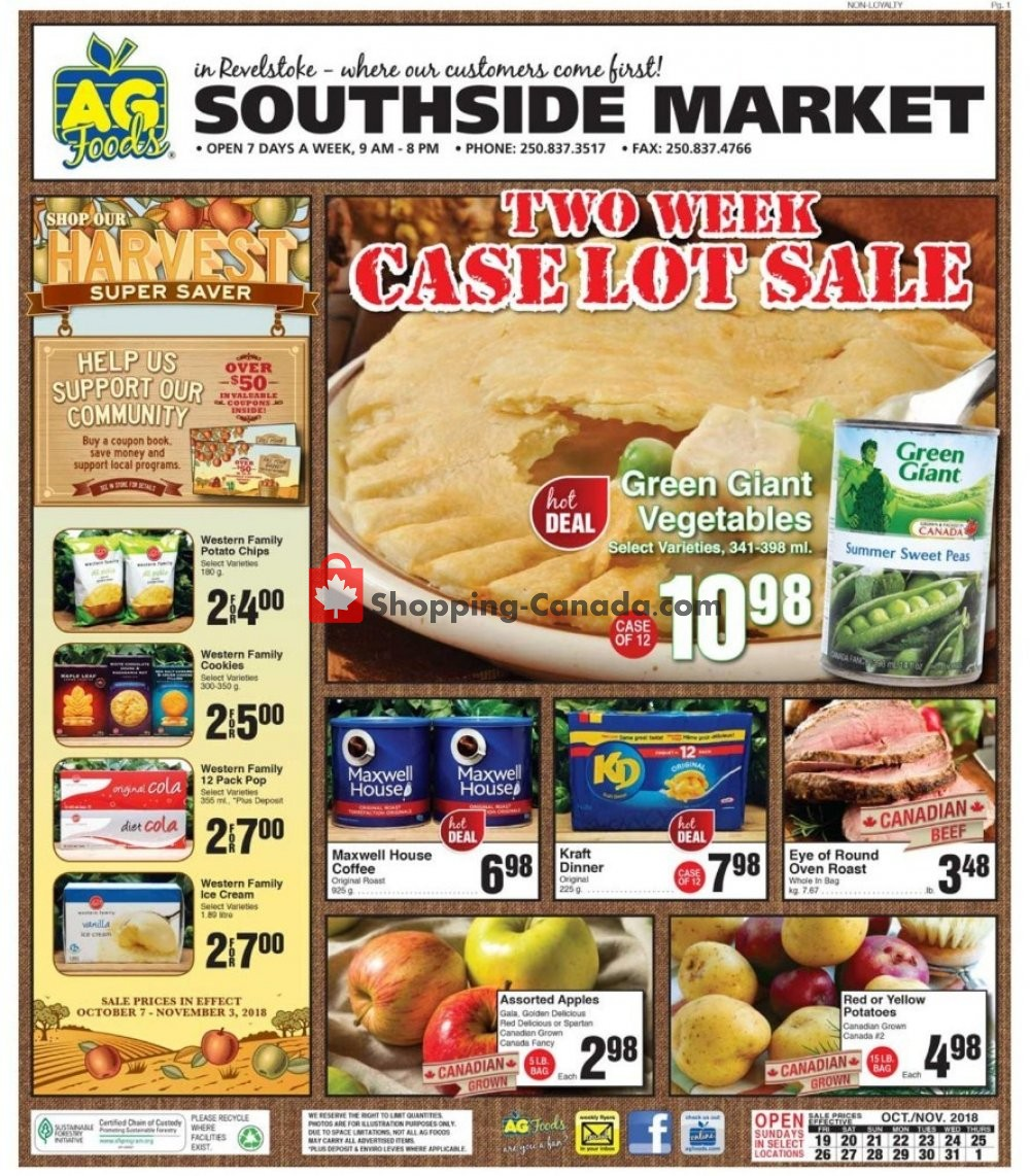 Flyer AG Foods Canada - from Friday October 19, 2018 to Thursday November 1, 2018
