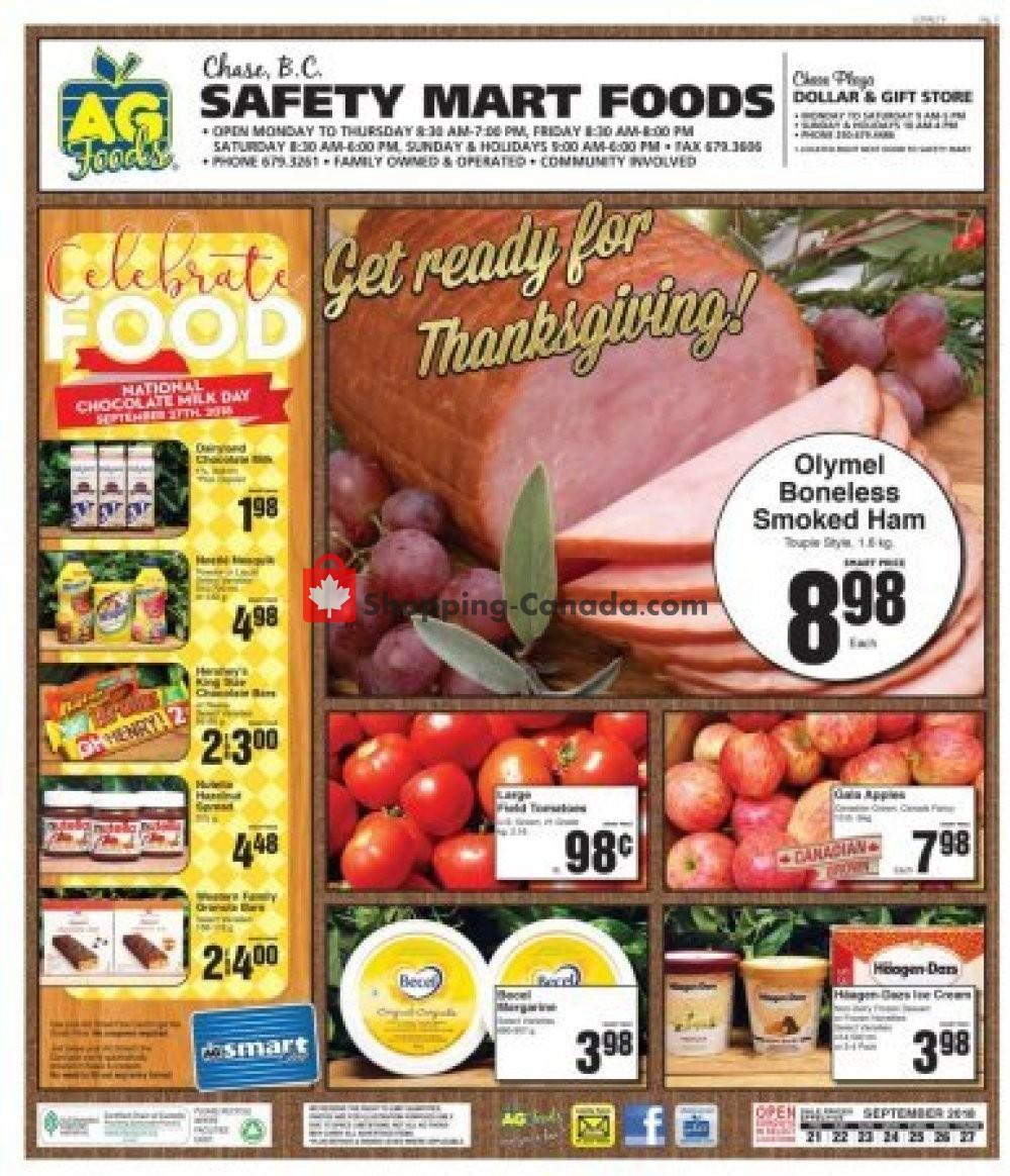 Flyer AG Foods Canada - from Friday September 21, 2018 to Thursday September 27, 2018