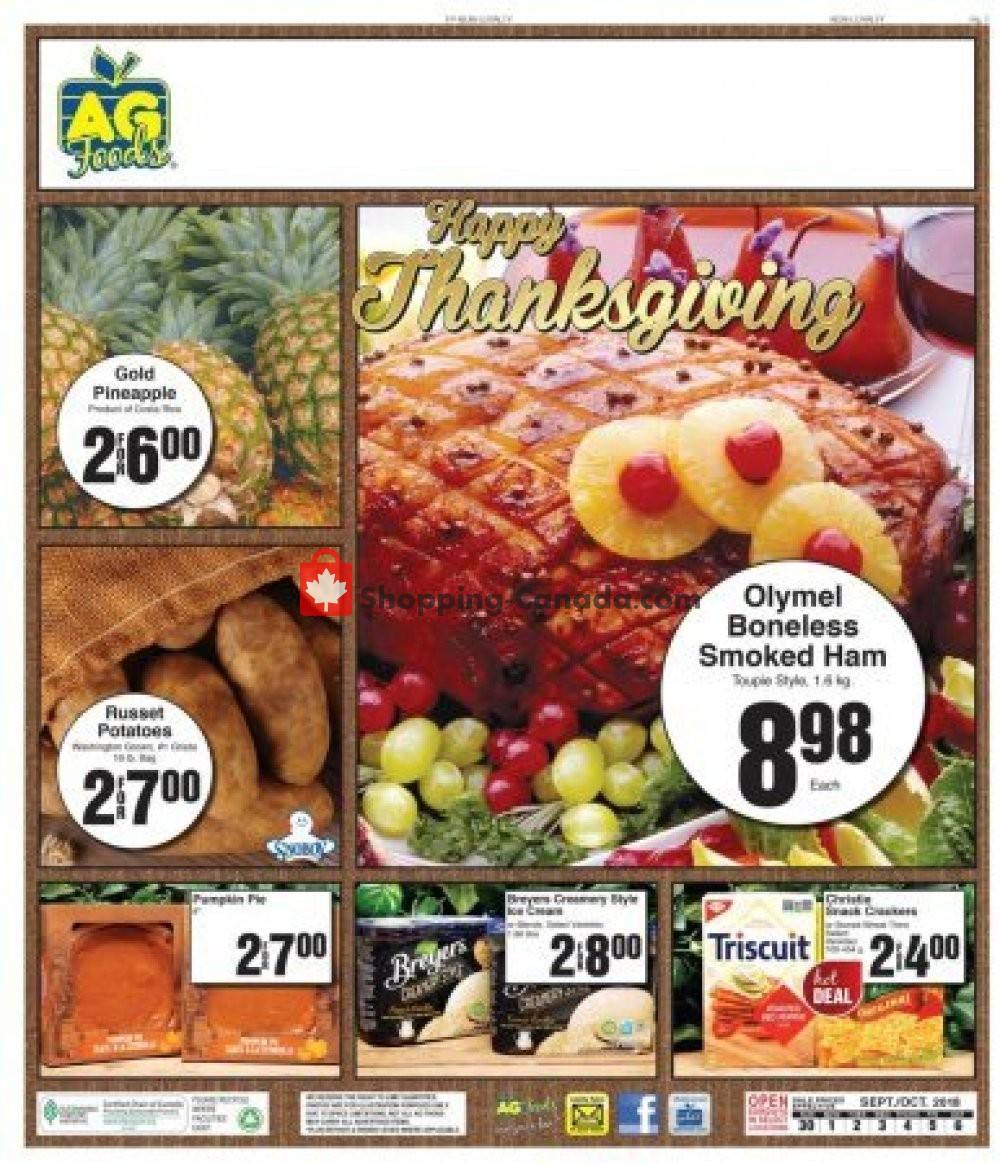 Flyer AG Foods Canada - from Sunday September 30, 2018 to Saturday October 6, 2018