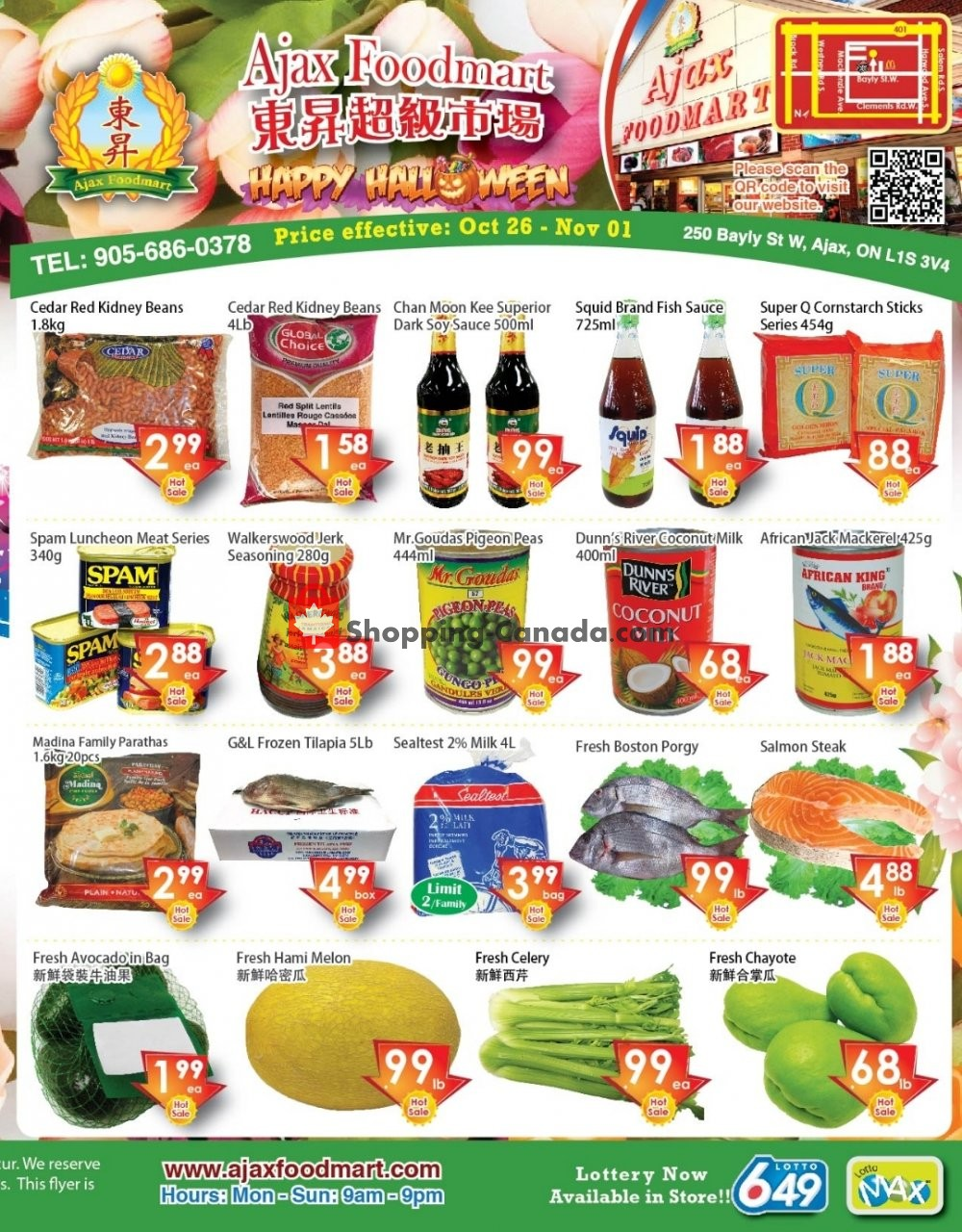 Flyer Ajax Foodmart Canada - from Friday October 26, 2018 to Thursday November 1, 2018